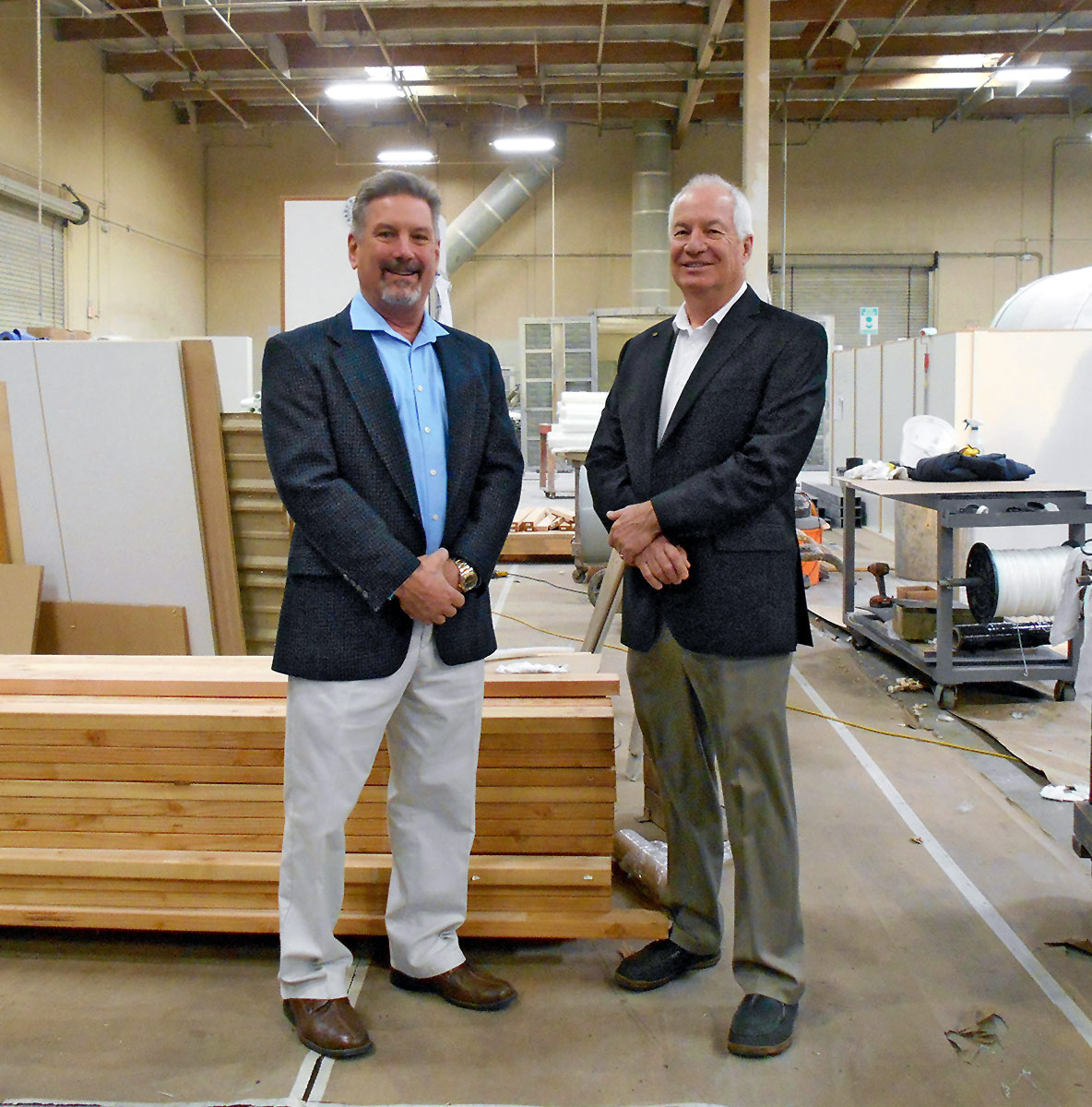 Peabody Engineering Owners Mark and Larry on the warehouse floor